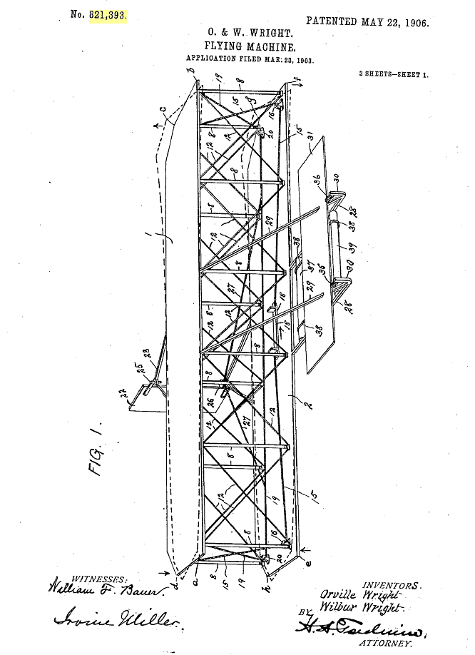 """May 22, 1906: Wright Brothers Patent """"Flying Machine"""""""