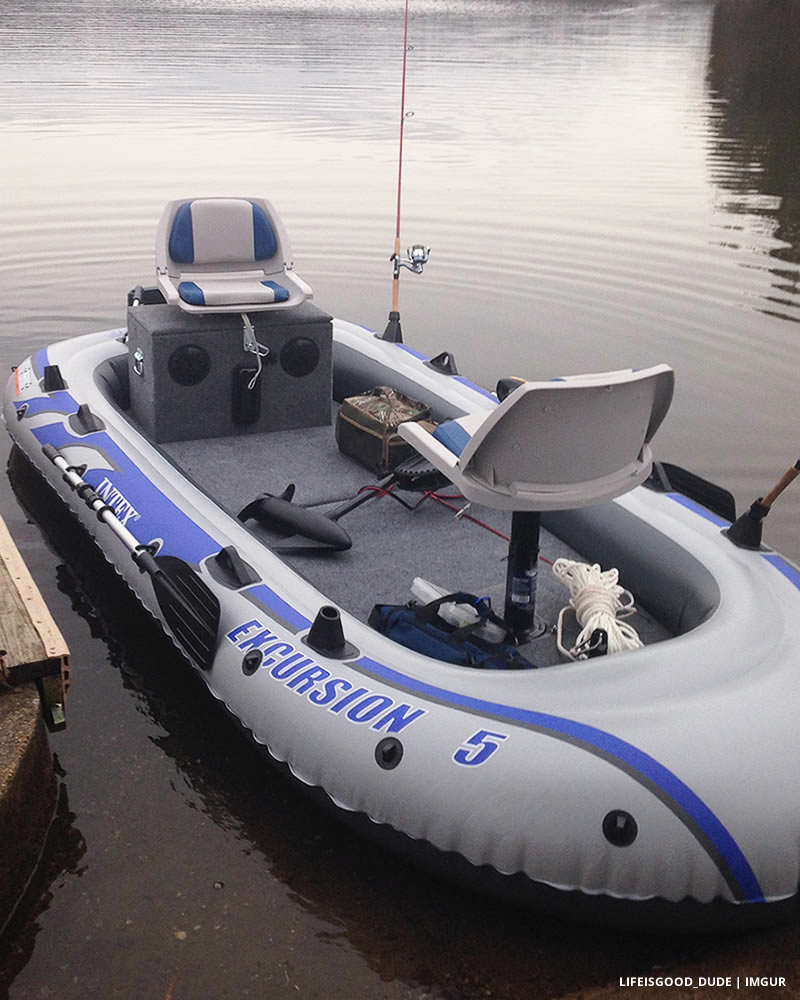 Transform an Inflatable Raft into a Practical Fishing Boat