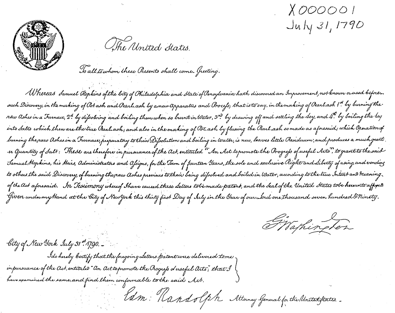 July 31, 1790: The First U.S. Patent Is Issued