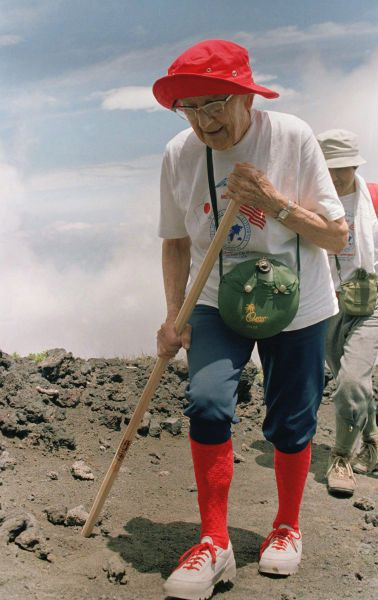 "July 24, 1987: ""Grandma Whitney"" Becomes Oldest Woman To Climb Mt. Fuji"