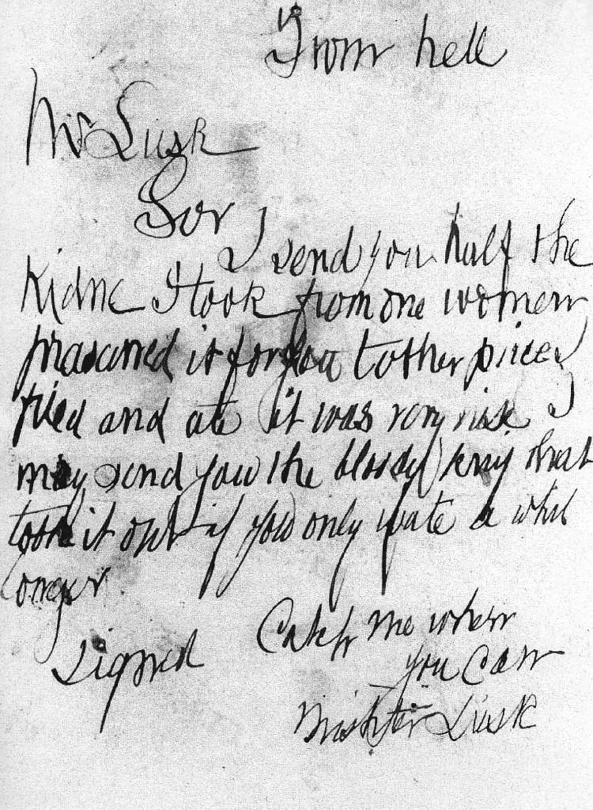 October 15, 1888: Whitechapel Vigilance Committee Receives Letter From Hell